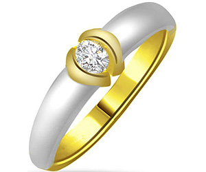 0.30 cts Two Tone Solitaire Diamond rings In 18K Gold