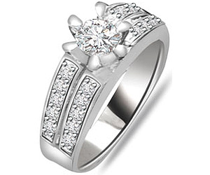0.30 cts White Gold Diamond Solitaire rings With Accents -Designer