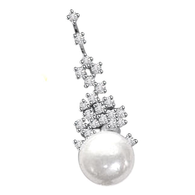 0.30ct Diamond & Pearl Pendants -Designer Pendants