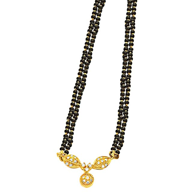 "0.30ct G/VS Diamond & 18k Gold Mangalsutra With 18"" Black Kedia Chain"