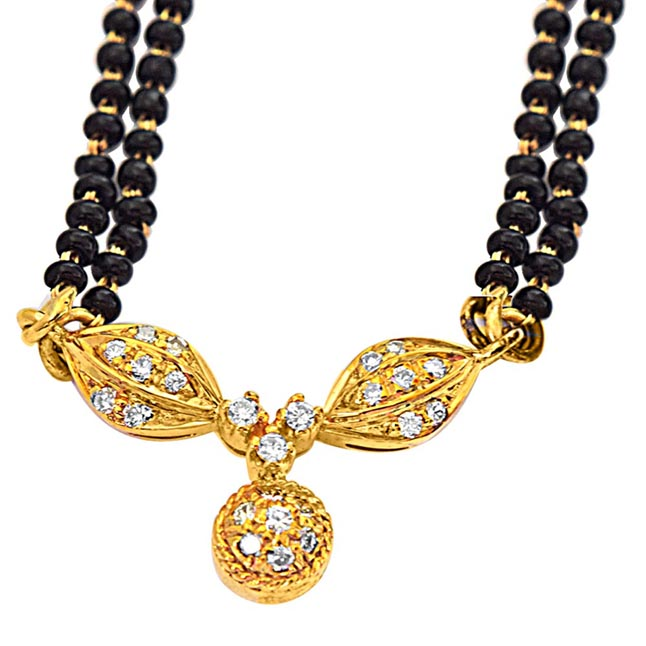 "0.30ct G/VS Diamond & 18k Gold Mangalsutra Pendants with 19"" Black Kedia Chain"
