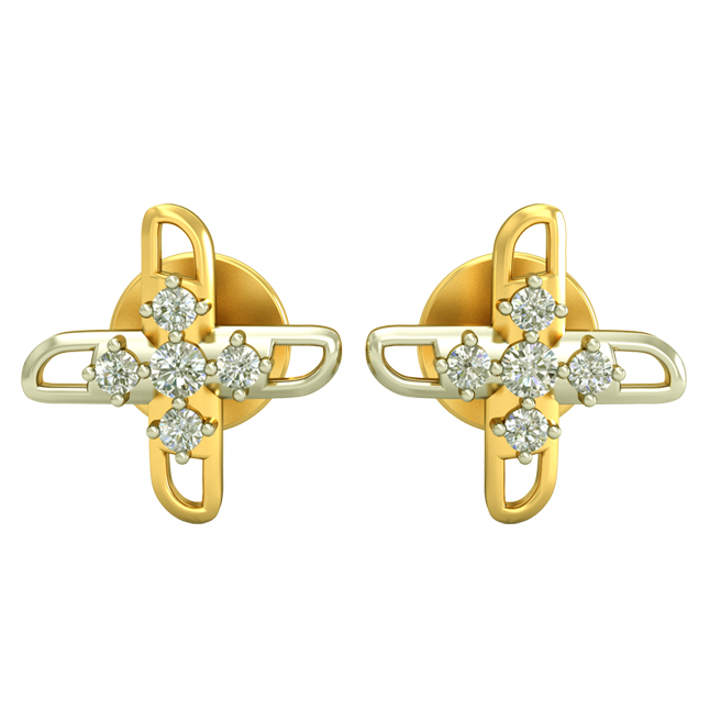 0.30cts Two Tone Diamond Earrings -Two Tone Earrings