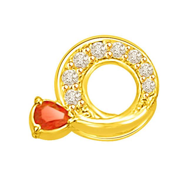 0.31 TCW Circular Diamond Ruby Pendants in 18kt Gold -Diamond -Ruby