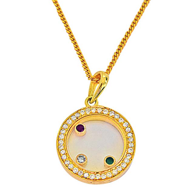 0.31ct G-H/VS Dancing Diamond 18kt Gold Pendant With Chain for Engagement