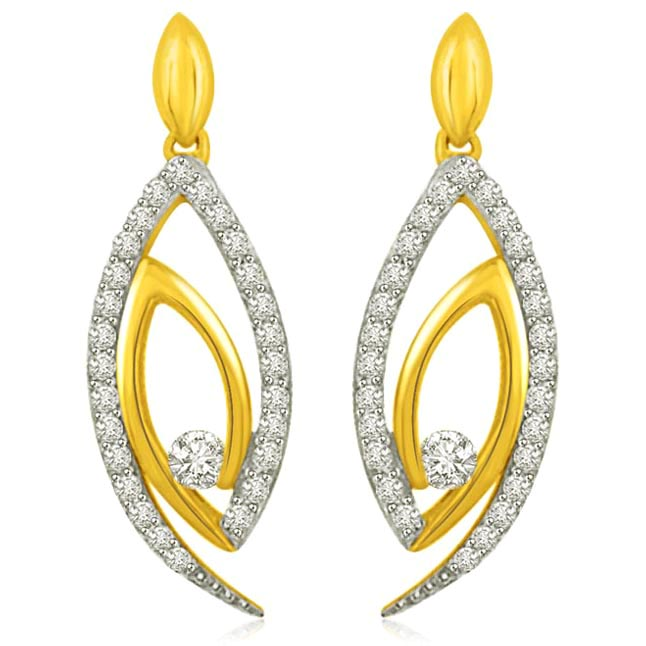 0.31CT Two Tone Diamond & Gold Earrings for Her