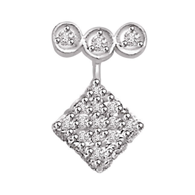 0.32 TCW Three Circles a Square Diamond Pendants -White Gold