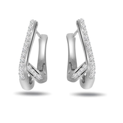 0.32ct Diamond White Gold Earrings -Balis & Hoops