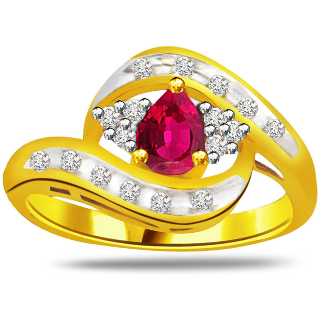 0.34ct Diamond & Pear Ruby Gold rings