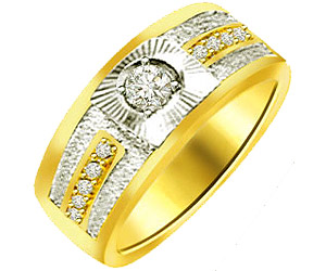 0.35 cts Diamond Gold Wide B rings