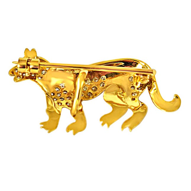 0.35ct G/SI Diamond & 18kt Gold Dog shaped Brooch for Engagement Wedding -Diamond Brooches