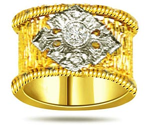 0.36 cts Diamond Wide B rings In 18k Gold