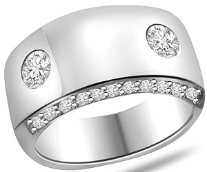 0.37 cts 14k White Gold Diamond rings -Designer