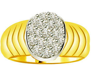 0.38 cts Diamond Two Tone Wide B rings