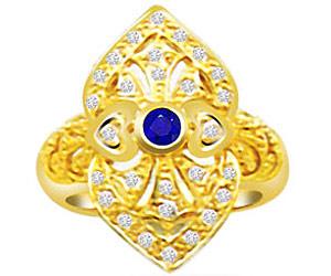 0.38 cts Round Sapphire & Diamond 18K rings