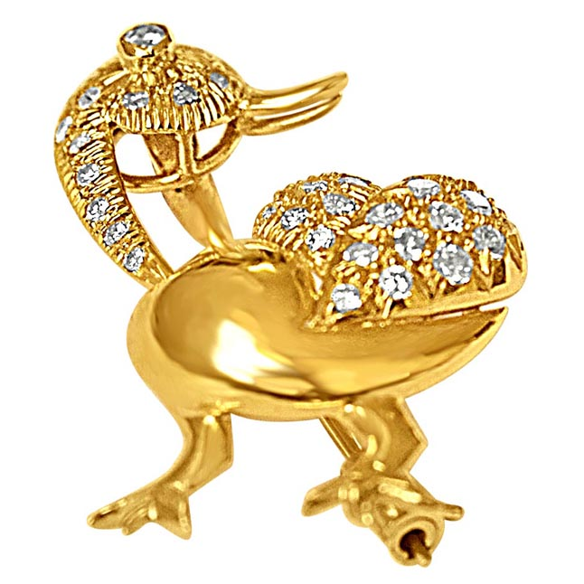 0.38cts White G/SI1 & Fancy Yellow Diamond Duck Brooch for Women's