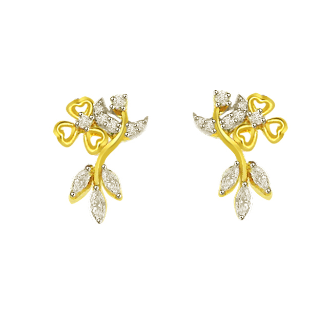 0.39 cts Round & Marq Diamond 18K Earrings -Flower Shape Earrings