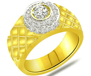 0.40 cts Designer Two Tone Diamond rings In 18K Gold