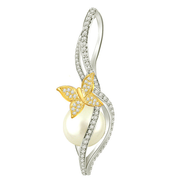 0.40 cts Diamond & Gold Butterfly Pearl Pendants -Designer Pendants