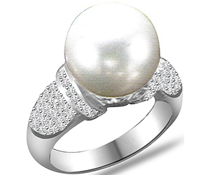 0.40 cts Round Pearl & Diamond rings in 14k White Gold -Designer