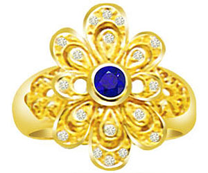 0.40 cts Round Sapphire 18K Gold Diamond rings