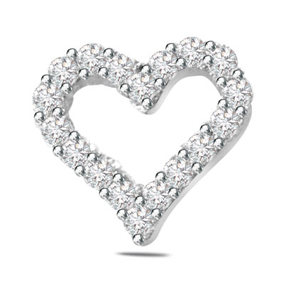 0.40ct Diamond Heart Shape 14kt Gold Pendants