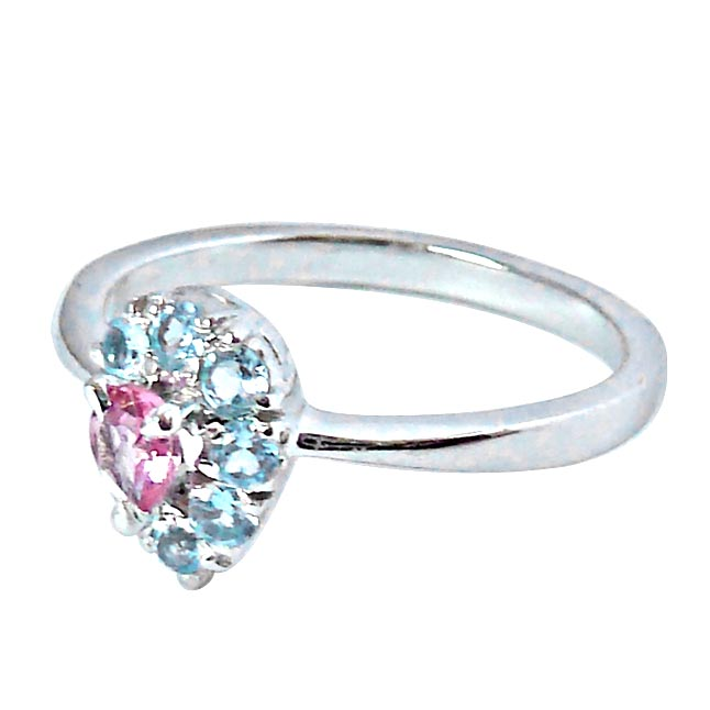 0.40ct Pink Tourmaline & Blue Topaz Sterling Silver gemstone rings