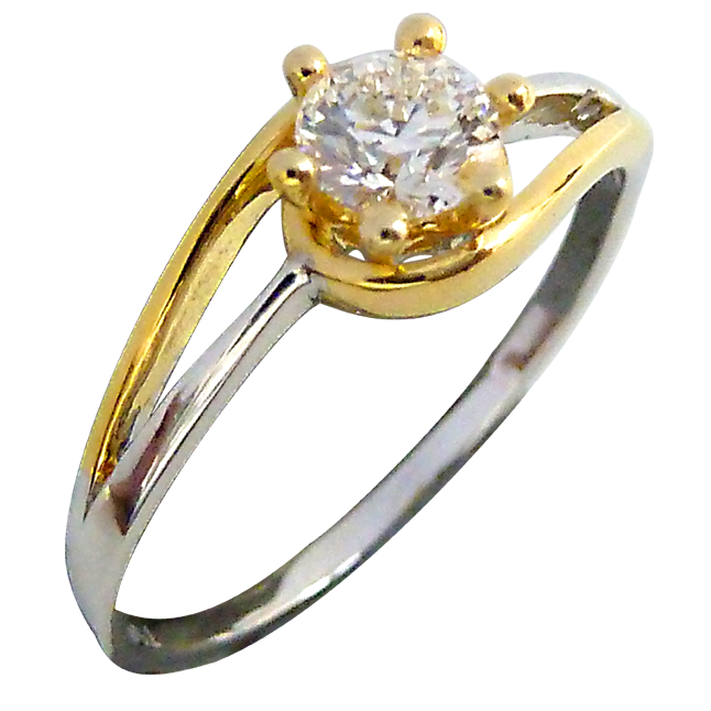 0.40ct Diamond Two Tone Solitaire rings
