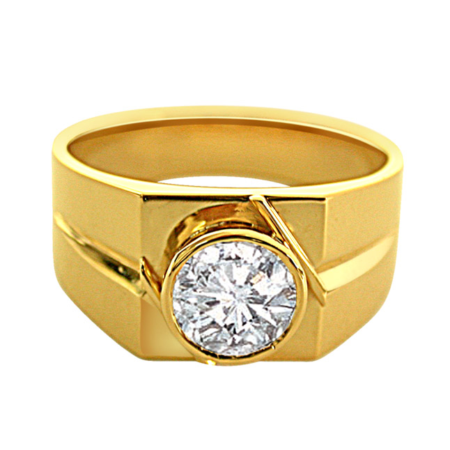 0.40 cts Solitaire Men's Gold rings -Solitaire rings