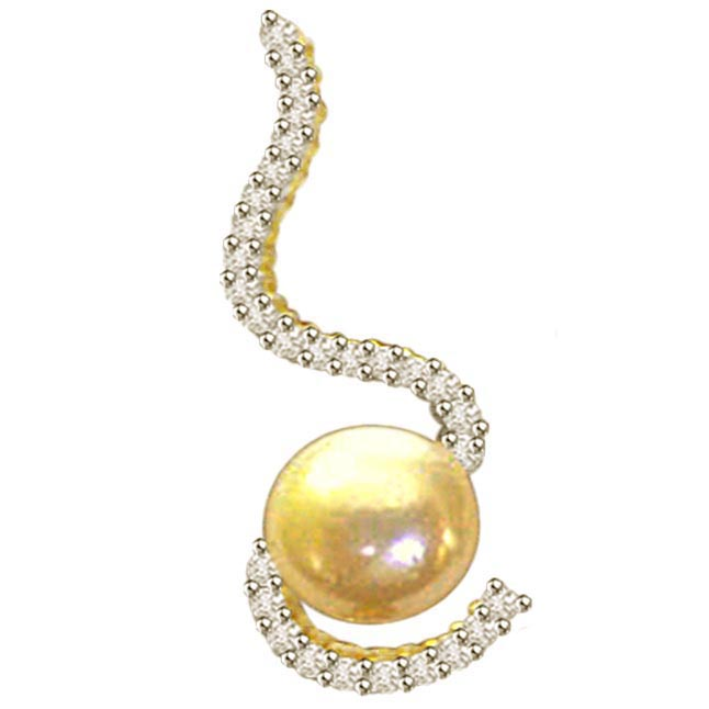 0.42ct Dazzling Diamond & Pearl Pendants P431 -Designer Pendants