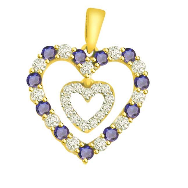 0.48ct Diamond Blue Sapphire Heart Pendants