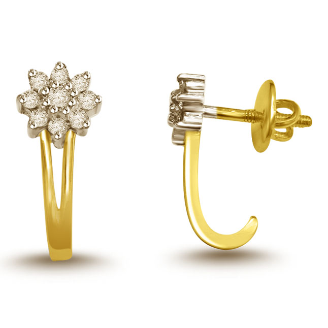 0.50 cts Diamond Solitaire Earrings -Flower Shape Earrings
