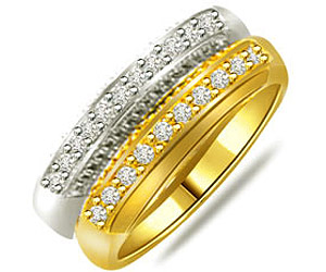 0.50 cts Elegant Two Tone Diamond rings -2 Tone Half Eternity