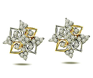 0.50 cts Two Tone Diamond Earrings -Two Tone Earrings