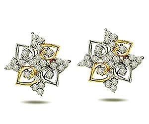0.50 cts Two Tone Diamond Earrings -Two Tone Earrings