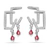 0.50 cts White Gold Diamond Ruby Hanging Earrings