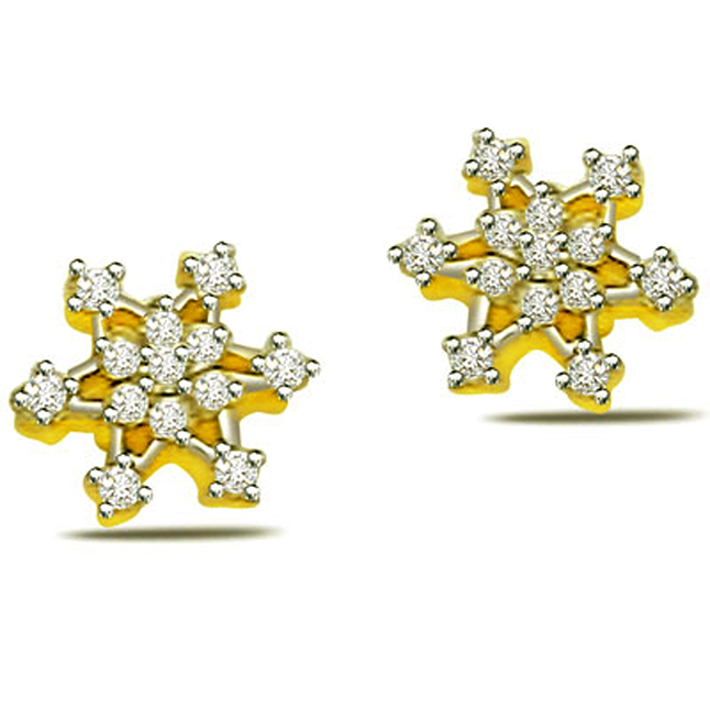 0.50ct Flower Shape Diamond Earrings ER -320 -Flower Shape Earrings