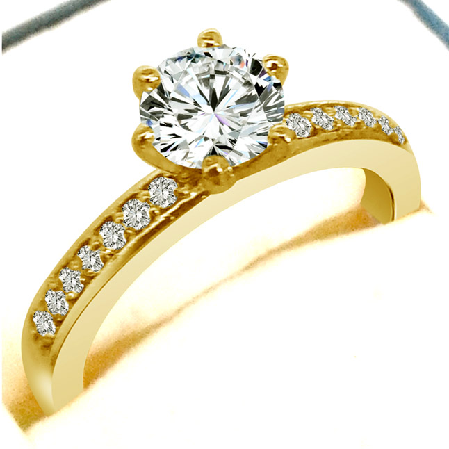 0.52 cts Diamond Solitaire rings with Accents -SDR1680 -18k Engagement rings