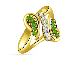 0.54cts Diamond & Emerald rings -Diamond & Emerald