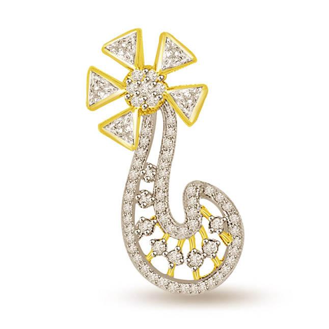0.55 cts Flower Shape Two Tone Diamond Pendants -Flower Shape Pendants