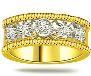 0.60 cts Diamond Wide B rings In 18k Gold