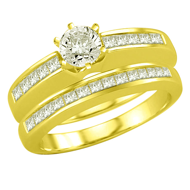 0.60TCW F /VVS1 Engagement Wedding rings Set in 18k Gold -Rs.100001 -Rs.150000