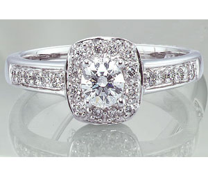 0.60TCW J/VVS1 GIA Diamond Engagement Ring with Accents