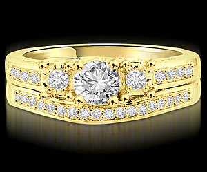 0.65TCW G/SI2 Diamond Wedding B in 18k Yellow Gold -Rs.100001 -Rs.150000