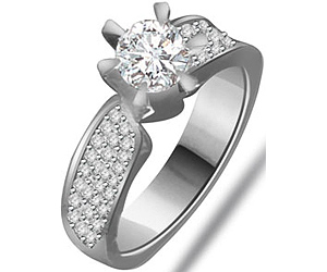0.70 cts Diamond White Gold Engagement rings -Designer