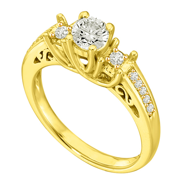 0.70 TCW F/VVS1 Diamond Engagement rings with Accents -Rs.200001 -Rs.300000