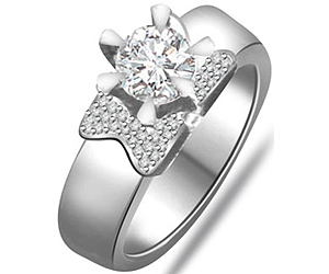 0.75 Cts Diamond Gold Engagement rings -Designer