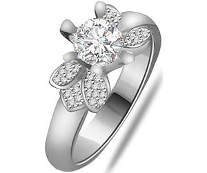 0.75 cts Diamond White Gold Engagement rings -Designer