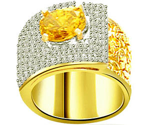 0.75 cts Wide B Diamond & Golden Topaz rings -Gemstone & Diamond