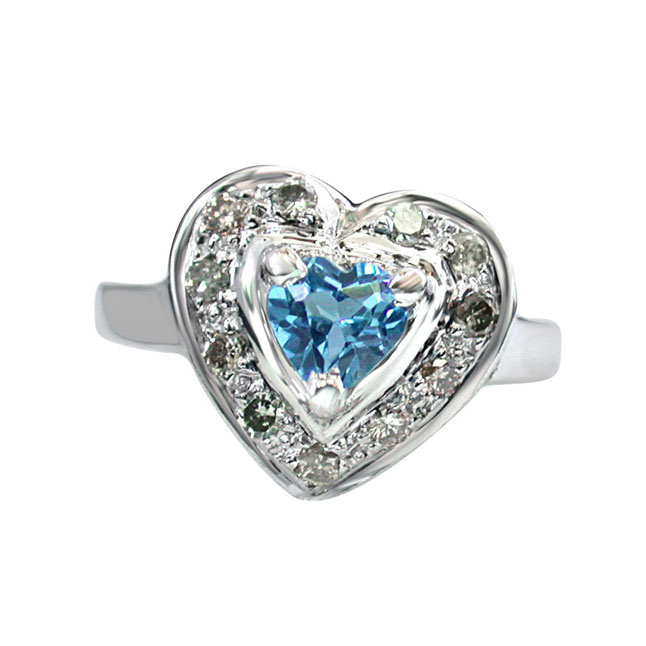 0.75ct Diamond & Heart Shape Swiss Blue Topaz 915 Silver rings for Lady Love