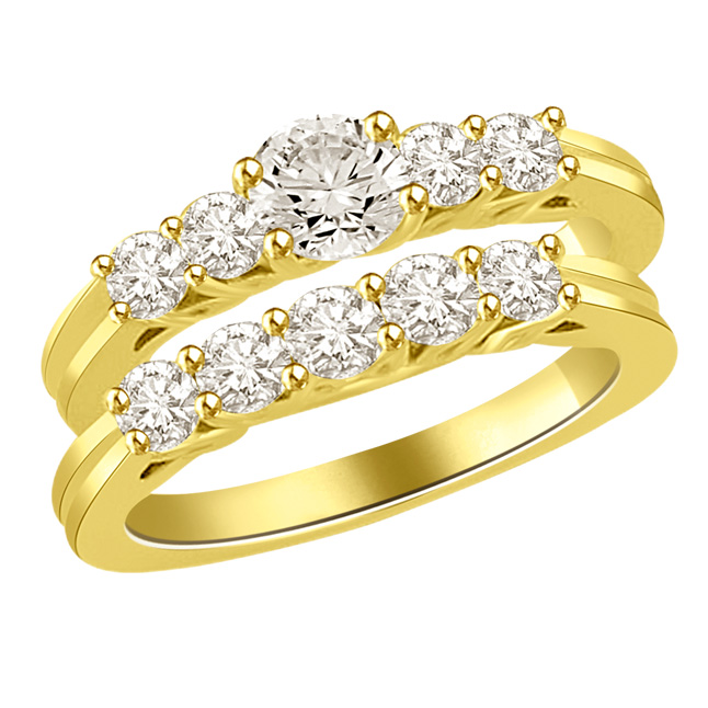 0.76TCW K/VS1 Cert Diamond Engagement Wedding Ring Set